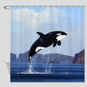 Orca Breaching Shower Curtain